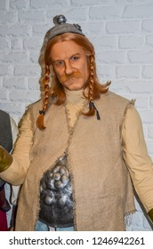 ODESSA, UKRAINE - May 26, 2018:   the wax figure of Gerard  Depardieu as Obelix  at the wax museum Babu Yti.