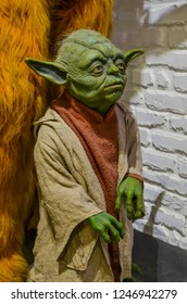 ODESSA, UKRAINE - May 26, 2018:   the wax figure of Master Yoda (Star Wars fame) at the wax museum Babu Yti.