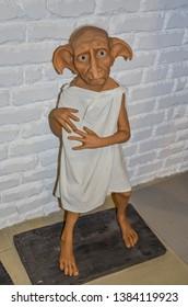 ODESSA, UKRAINE - May 26, 2018:   the wax figure of Dobby, domestic elf,  at the wax museum Babu Yti.