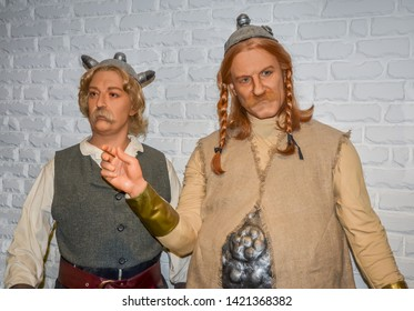 ODESSA, UKRAINE - May 26, 2018: the wax figure of Asterix and Obelix at the wax museum Babu Yti.