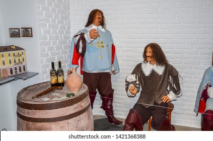 "ODESSA, UKRAINE - May 26, 2018: the wax figure of characters of the movie ""Three Musketeers"" at the wax museum Babu Yti."