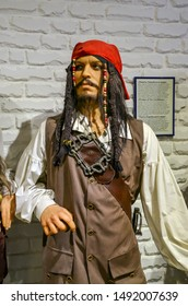 ODESSA, UKRAINE - May 26, 2018: the wax figure of Johnny Depp as Jack Sparrow at the wax museum Babu Yti.