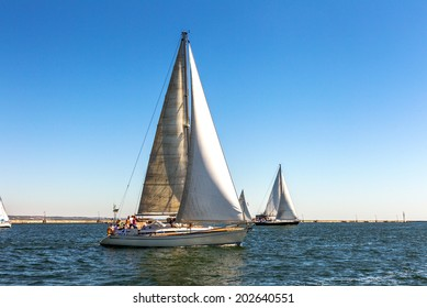 Odessa, Ukraine - May 28, 2011: Sailing yacht out in the coastal zone of the Black Sea on a bright sunny summer holiday with a light breeze, May 28, 2011 in Odessa, Ukraine.