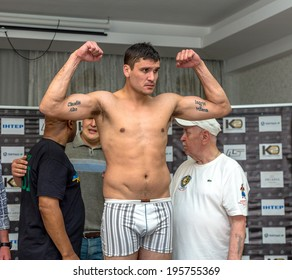 ODESSA, UKRAINE- May 29, 2014:Cesar David Crenz - Argentina. Official weigh-in ahead with boxing world heavyweight champion, Olympic champion Alexander Usyk - Ukraine, May 29, 2014 in Odessa, Ukraine.