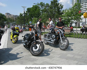 """Odessa, Ukraine, May 29, 2016 -: close-up of beautiful motorcycles and bikes in the """"Bike show"""" parked in the open air in the city center. Shallow depth of field."""