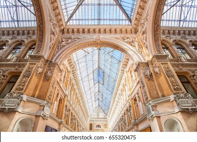 ODESSA, UKRAINE - MAY 30, 2017: Indoor atrium of Odessa passage - old covered mall and architectural monument