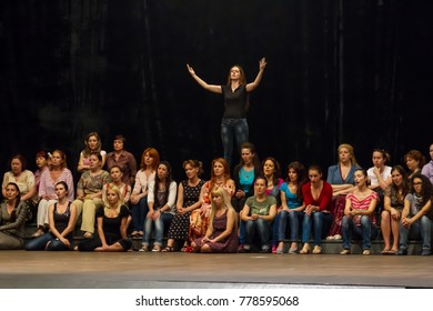 ODESSA, UKRAINE May 31, 2013: Rehearsal of the modern classical ballet opera staging. Opera singers, accompanied by musicians and ballerinas rehearse the premiere of the show of modern ballet AIDA