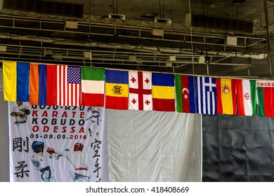 Odessa, Ukraine, May 7, 2016 Karate World Cup. Kids boxing, kickboxing children. Prize medal of the tournament. Popularization of sports and healthy lifestyle