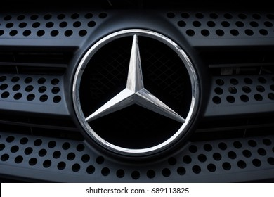 ODESSA, UKRAINE - MAY 7, 2017: Mercedes benz logo and badge on the car