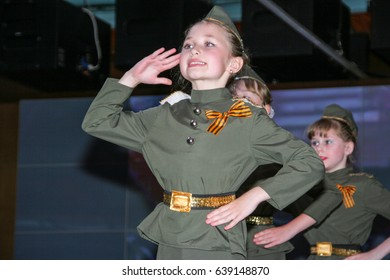 Odessa, Ukraine May 9, 2011: Young artists in military uniform. Children act in military uniform