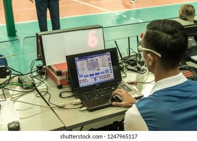 Odessa, Ukraine Nov 27,2018: 2019 CEV Volleyball CUP - Women 16th Finals Khimik YUZHNY (UKR) - green Swietelsky BEKESCSABA (HUN) - blue. Official European Volleyball Tournament. volleyball statistics