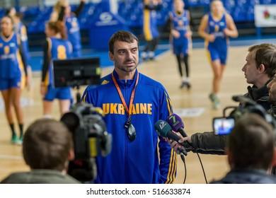 ODESSA, UKRAINE - November 15, 2016: National Women's national team of Ukraine on basketball. Press conference of head coach Vladimir Holopov. open training session of women's national basketball team
