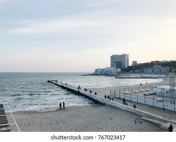 Odessa, Ukraine - November 17, 2017: Panorama of Arcadia Beach. Arcadia beach is Odessa, Ukraine's most famous beach. It is located in the Arcadia quarter.