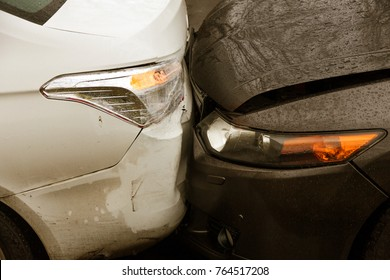 ODESSA, UKRAINE - November 28, 2017: A broken car as result of traffic accident. Typical accident when driving in column, traffic jam. Road accident, car crash, collision, highway accident insured