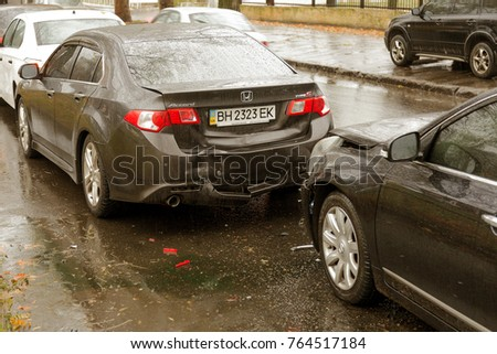 ODESSA, UKRAINE - November 28, 2017  A broken car as result of traffic eb66da7a13