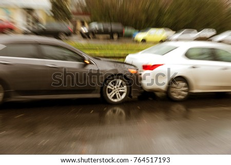 ODESSA, UKRAINE - November 28, 2017  A broken car as result of traffic  accident. Typical accident when driving in column, traffic jam. b5db600bda
