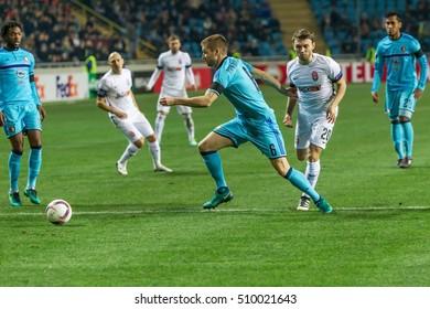 Odessa, Ukraine - November 3, 2016: UEFA Europa League. FC Zarya (Lugansk) Accepts Feyenoord (Rotterdam), Netherlands. Key pieces of intense emotional football game of the match. 1:1