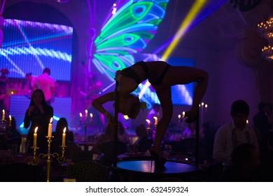 Odessa, Ukraine November 8, 2011: Go go dancer. Dance show at night club. Performance show during night party. Soft focus