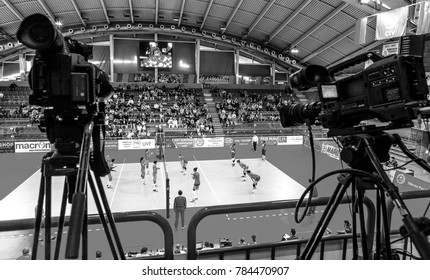ODESSA, UKRAINE - October 1, 2016: European Championship in women's volleyball. The game of the national teams of Ukraine and the national women's Spain. Spain in red. 2: 3