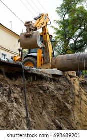 ODESSA, UKRAINE - OCTOBER 11, 2016: Repair of city water supply. Replacement of old rusty metal pipes on plastic pipes. New modern technologies of urban engineering networks. City Water Pipeline