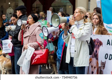 Odessa, Ukraine - October 15, 2017: all the Ukrainian march for the rights of animals.