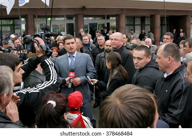 Odessa, Ukraine - October 27, 2009: Ukrainian politician Igor Markov, head of the anti-government protest actions. Politician izgnat and saved from persecution in Russia