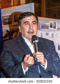 Odessa, Ukraine - October 28, 2015: Georgian and Ukrainian politician, governor of  Odessa region, Mikhail Saakashvili at meeting called for civil disobedience after  election of the mayor of Odessa