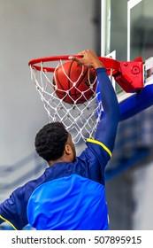 Odessa, Ukraine - October 28, 2016: Championship of Ukraine on basketball. Game BIPA - Odessa, POLYTECHNIC - Kharkiv. Dramatic battle for ball. Basketball players in game on basketball court