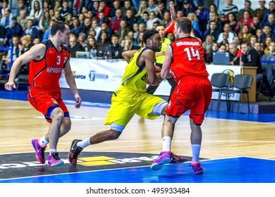 ODESSA, UKRAINE - October 9, 2016: Basketball between the men's basketball team BIPA Odessa and Kryvbas - Krivoy Rog. League Betting Mach. Championship of Ukraine. Game Moment in basketboll