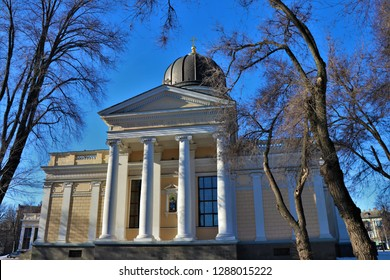 """Odessa, Ukraine. Panoramic view of the Transfiguration cathedral alzo known ad Spaso-Preobrazhensky. In the facade is written """" Who is so great a God as our God """"."""
