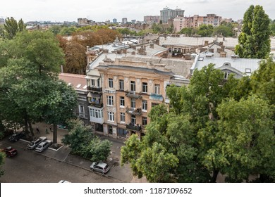 Odessa, Ukraine - Sep. 09, 2018: Aerial view of the roofs and old courtyards of Odessa. View of Odessa from the roof. Buildings of old city