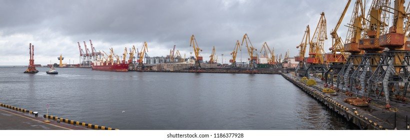 Odessa, Ukraine - Sep 10, 2018: Marine Industrial Commercial Port. Industrial zone of Odessa sea port. Container cranes. Cargo container terminal of sea freight industrial port.