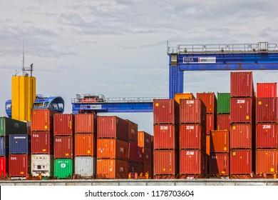 Odessa, Ukraine - Sep 13, 2018:  Container terminal in Odessa seaport.