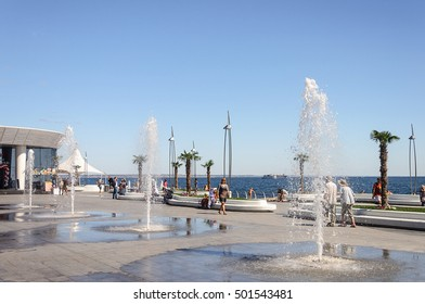 Odessa, Ukraine - September 01, 2016: Fountains near the dolphinarium at seafront of Black Sea