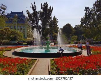 Odessa / Ukraine - September 12, 2016: Odessa City Park Bandstand Fountain