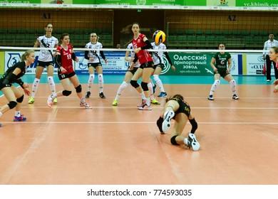 ODESSA, UKRAINE - September 12, 2017: 2018 CEV Volleyball Cup - Women. Played Khimik YUZHNY (Ukraine) - white and Zesar VFM Franches-Montagnes (Switzerland) - red. Stressed women's volleyball game
