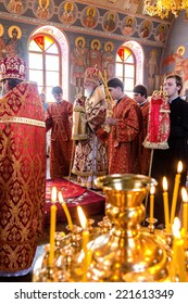 ODESSA, UKRAINE - SEPTEMBER 13: Celebration of the Orthodox Christian religious holiday icons of temple in village. Metropolitan of Odessa and Izmail Agafangel, September 13, 2014 in Odessa, Ukraine