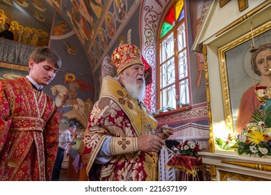 ODESSA, UKRAINE - SEPTEMBER 13: Celebration of  Orthodox Christian religious holiday icons of temple in village. Metropolitan of Odessa and Izmail Agafangel, September 13, 2014 in Odessa, Ukraine