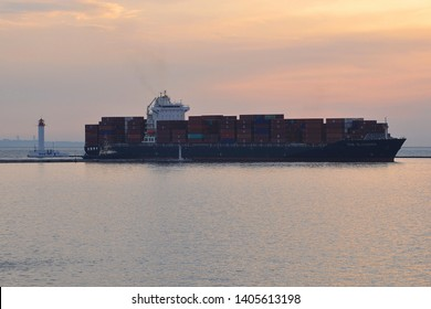 Odessa / Ukraine - September 14 2018: Container ship ZIM ALABAMA IMO 9471226 arrived at Odessa harbour at dawn