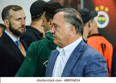ODESSA, UKRAINE - September 15, 2016: Coach Dick Advocaat during the UEFA Europa League match group stage Zarya Lugansk vs FENERBAHCE Istanbul, 15 September 2016, Ukraine