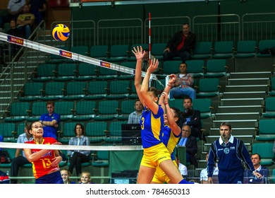 ODESSA, UKRAINE - September 15, 2016: European Championship in women's volleyball. The game of the national teams of Ukraine and the national women's Spain. Spain in red. 2: 3