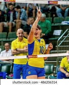 ODESSA, UKRAINE - September 18, 2016: European Championship in women's volleyball. Playing national women's teams Italy and Ukraine in Southern, Odessa. 3: 2 Tense game volleyboll. Italy in blue