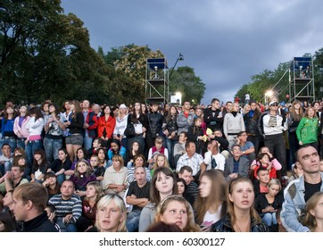 ODESSA, UKRAINE - SEPTEMBER 2: People watch free music festival during the 216th birthday of Ukrainian city Odessa on September 2, 2010 in Odessa. Concert is carried out by the  famous Potemkin Stairs