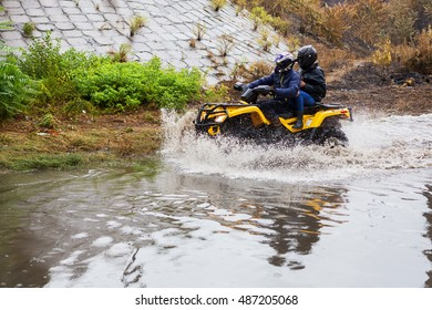 Odessa, Ukraine - September 20, 2016: Driving cars on a flooded road during flooding caused by torrential rains. Cars float on water flooded streets. The disaster in Odessa, September 20, 2016.