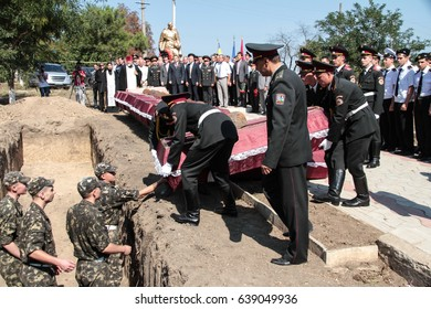 Odessa, Ukraine September 22, 2011: reburial of dead soldiers during Second World War. Slavonic funeral with burial of deceased in temple and burial in cemetery. Funeral service.