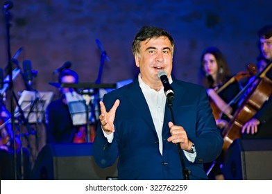 Odessa, Ukraine - September 23, 2015: Georgian and Ukrainian politician, the governor of the Odessa region of Ukraine, Mikhail Saakashvili, speaking  in the fortress Akkerman in Belgorod-Dniester.