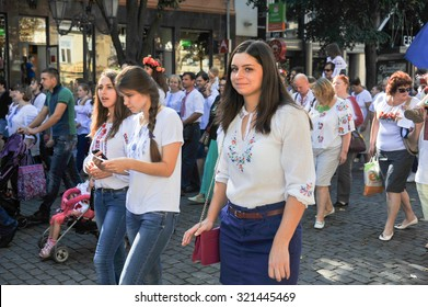 ODESSA, UKRAINE - SEPTEMBER 26: Ukrainians in national costumes at Vyshivankovy Festival on September 26,2015 in Odessa, Ukraine