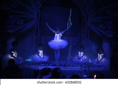 Odessa, Ukraine September 28, 2013: Go go dancer. Dance show at night club. Performance show during night party.