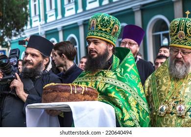 ODESSA, UKRAINE - SEPTEMBER 29: First visit of the Rector of the Ukrainian Orthodox Church Onufry, Metropolitan of Kiev and All Ukraine in celebration monastery September 29, 2014 in Odessa, Ukraine