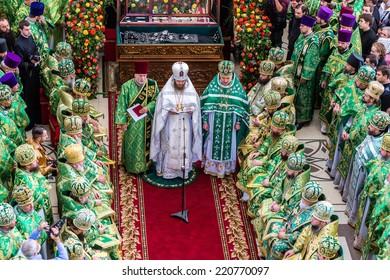ODESSA, UKRAINE - SEPTEMBER 29: First visit Rector Ukrainian Orthodox Church Onufry, Metropolitan Kiev and All Ukraine in celebration of 190 years old monastery September 29, 2014 in Odessa, Ukraine